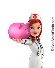 Nurse Character with piggy bank - Cartoon Character of Nurse...