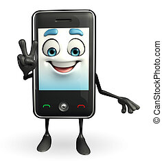 Mobile character is Victory sign - Cartoon Character of...