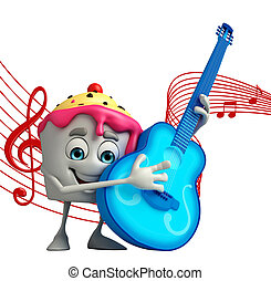 Ice Cream character with guitar - Cartoon Character of Ice...