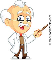 Professor Holding a Pointer Stick - Clipart Picture of a...