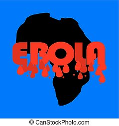 Map of Africa with the word ebola