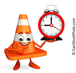 Construction Cone Character with table clock - Cartoon...