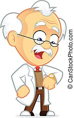 Professor Looking at His Watch - Clipart Picture of a...