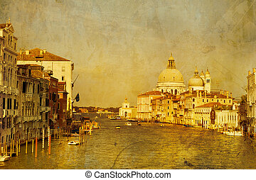 Art Venice, Italy. Gondolas on Grand Canal, Italian Canal...