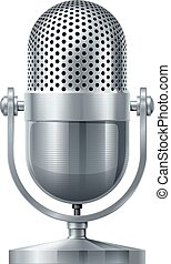 Vector microphone - Metal microphone. Eps10. Transparency...