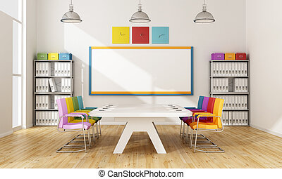 Colorful board room - Modern boardroom with colorful chair...