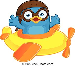 Blue Bird Pilot in Plane - Clipart Picture of a Blue Bird...