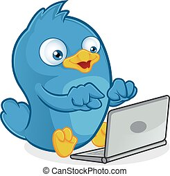Blue Bird with Laptop - Clipart Picture of a Blue Bird...