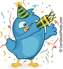 Blue Bird Party - Clipart Picture of a Blue Bird Cartoon...