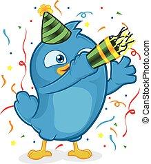 Blue Bird Party - Clipart Picture of a Blue Bird Cartoon...