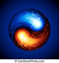 Yin Yang symbol - Red and blue fires swirl. Eps10....
