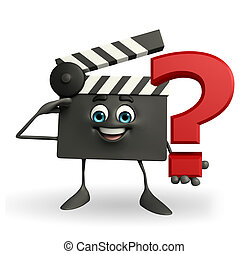 Clapper Board Character with question mark - Cartoon...