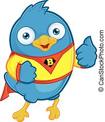 Superhero Blue Bird - Clipart Picture of a Superhero Blue...