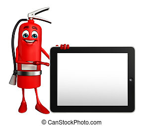 Fire Extinguisher character with tab - Cartoon Character of...