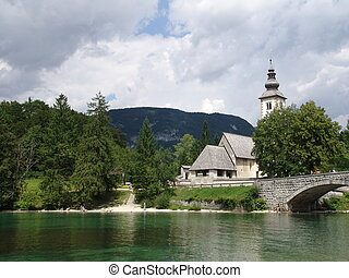 Lake in Bohinj - Lake and Church in Bohinj, Slovenia