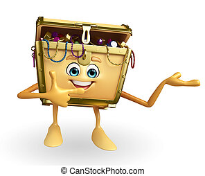 Treasure box character is pointing - Cartoon Character of...