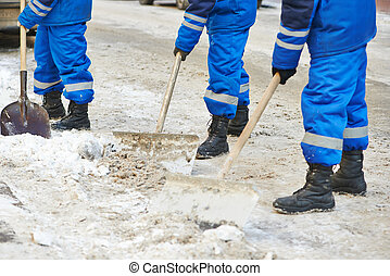 winter snow removal or city road cleaning - municipal urban...