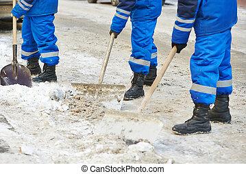 都市, 冬, 雪, 撤去, 清掃, ∥あるいは∥, 道