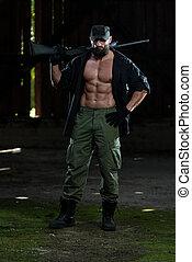máquina, homem, arma, segurando,  Muscular