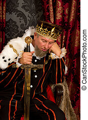 Bored king - Funny king holding a sword and looking very...
