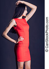 Beatiful women in the studio dresses, elegance Belarus