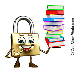 Lock Character with Books pile - Cartoon Character of lock...