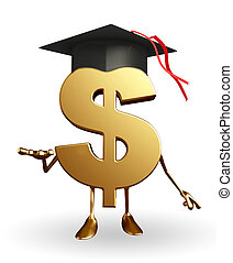 Dollar Character with graduate hat