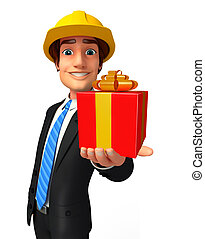 Young Business Man with gift box - Illustration of Young...