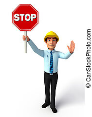 Young Service Man with Stop sign - Illustration of service...