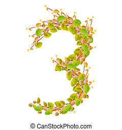 Number 3, alphabet of green leaves