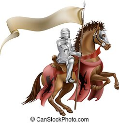 Medieval Knight on Horse - A medieval knight in armor riding...