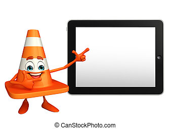 Construction Cone Character with tab - Cartoon Character of...