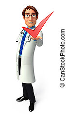 Illustration of young doctor with right sign