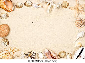Shells on sand frame - Seashells and starfish on sand...