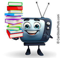 TV character with Books pile - Cartoon Character of TV with...