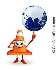 Construction Cone Character with globe - Cartoon Character...