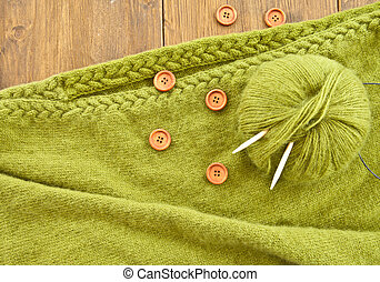 Handmade knitted scarf with green wool - Handmade knitted...