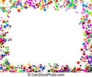 Confetti picture frame - Star shaped confetti of different...
