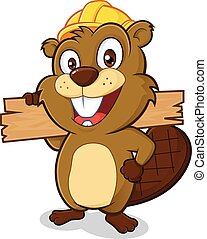 Beaver holding a plank of wood - Clipart picture of a beaver...