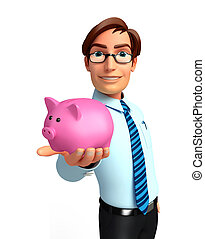 Young Service Man with piggy bank - Illustration of service...