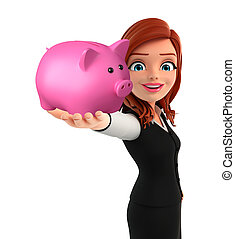 Young Business Woman with piggy bank - Illustration of young...