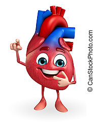 Heart character with pointing - Cartoon Character of heart...