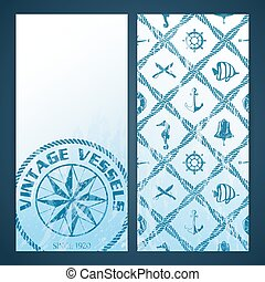 Nautical flayers with seafaring elements - mariners compass...