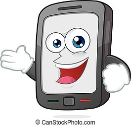 Smartphone in welcoming gesture - Clipart picture of a...