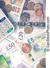 notas, moedas, britânico, libras