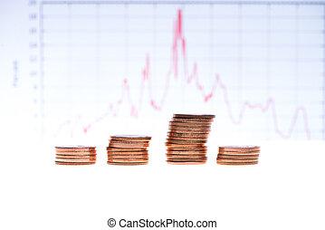グラフ, 上に, コイン, 財政, 山