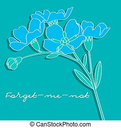 forget-me-not on the emerald background vector illustration
