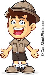 Boy Scout in Welcoming Gesture - Vector clipart picture of a...