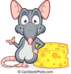Rat leaning on a cheese - Vector clipart picture of a rat...