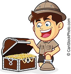Boy Scout with a Treasure Chest